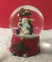 Father Christmas Snow globe ~ Glass Waterball with Santa & Present List